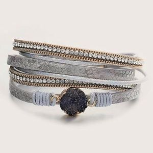 Jewelry - 3/$30 Druzy, Leather & Rhinestone Layered Bracelet